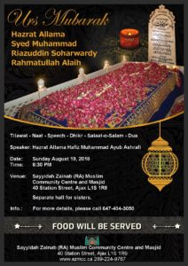 Urs Hazrat Allama Muhammad Riazuddin Soharwardy RA
