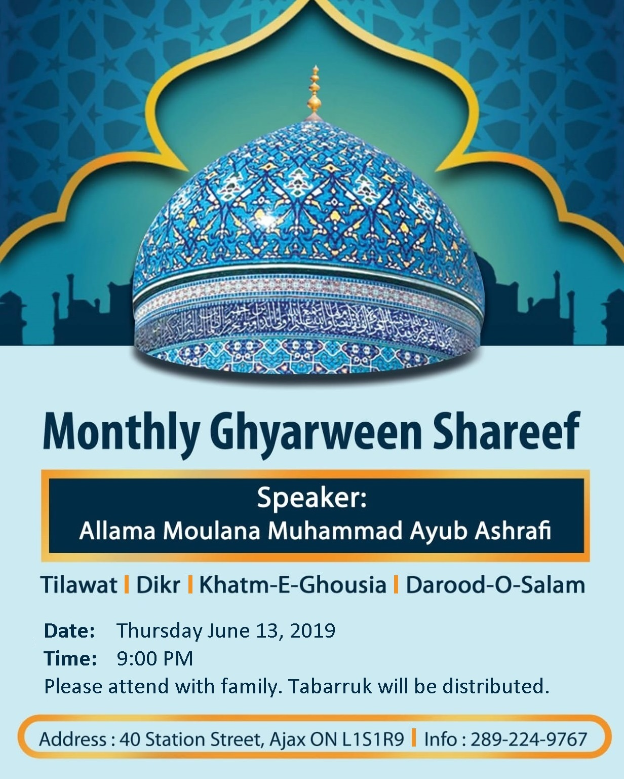 Monthly Ghyarween Shareef – Thursday June 13 @ 9:00 PM