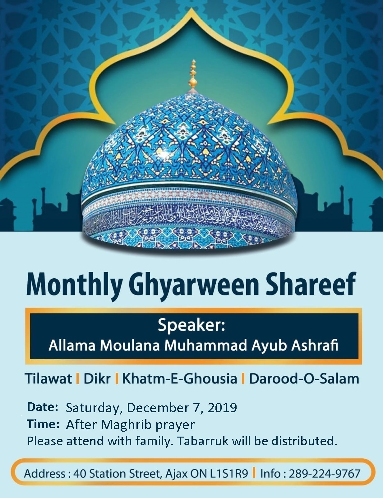Bari Ghyarween Shareef – Saturday December 7 after Maghrib prayer