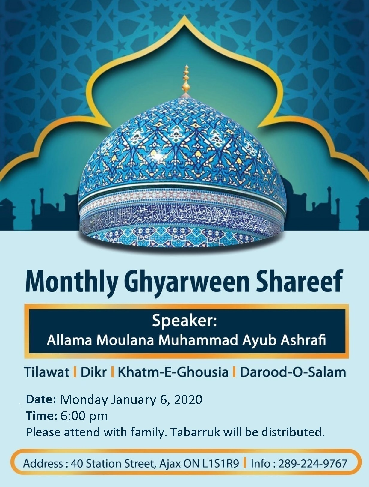 Monthly Ghyarween Shareef – Monday January 6, 2020 at 6:00 pm