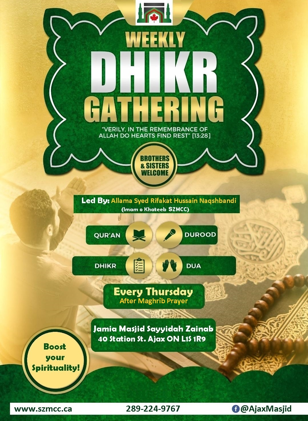 Weekly Mehfil e Dhikr – Every Thursday after Maghrib Prayer