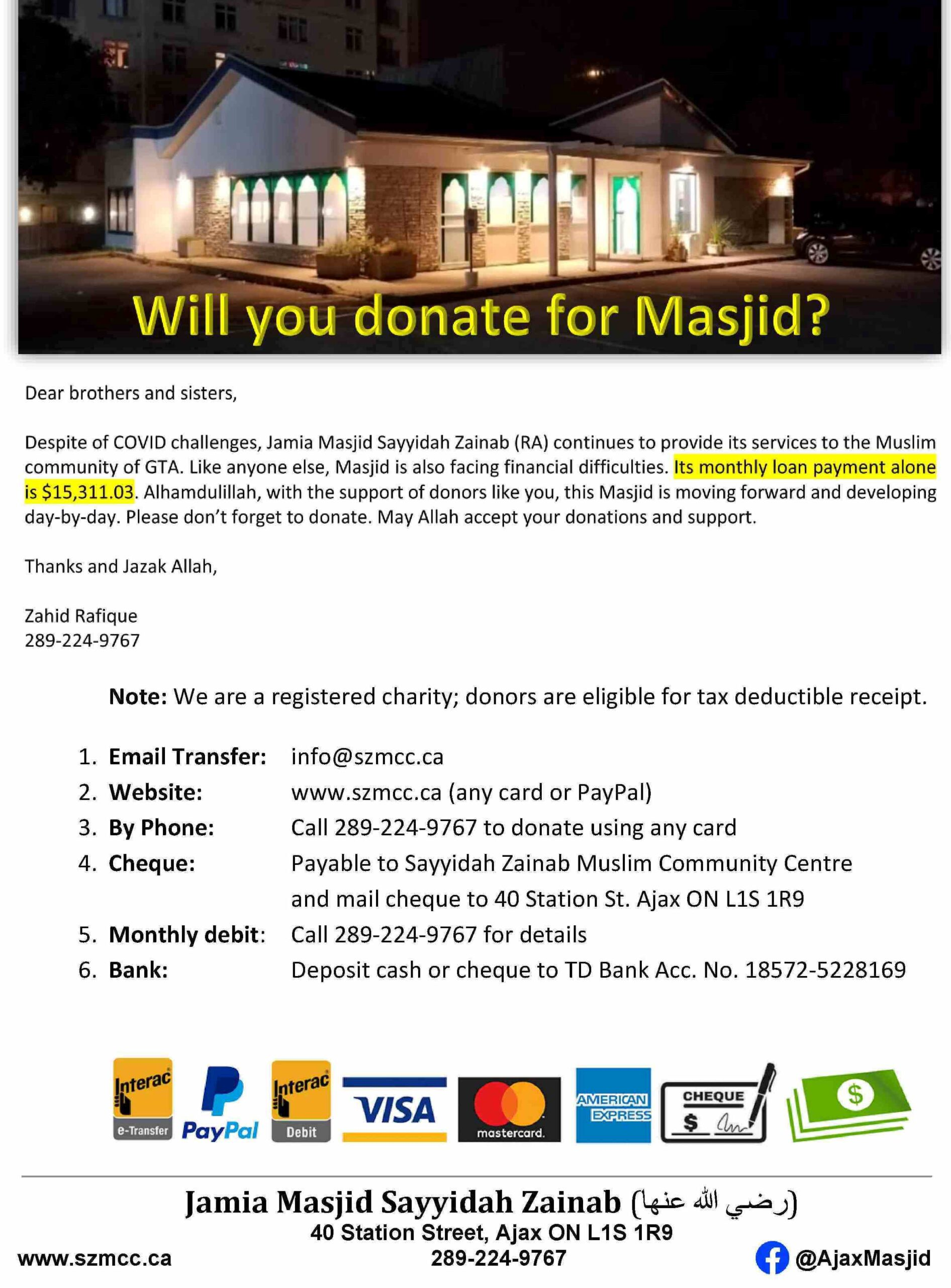 Will you donate for Masjid?