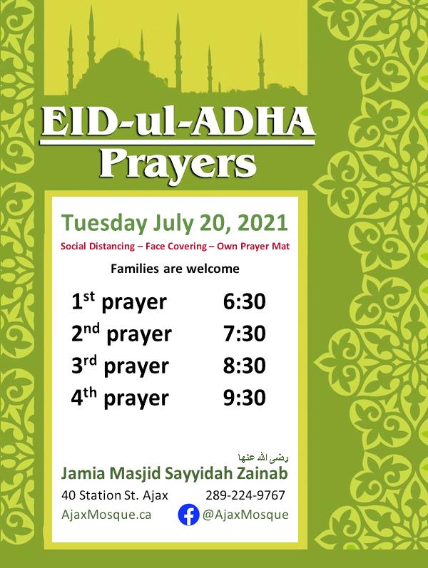 Eid ul Adha Prayer Timings